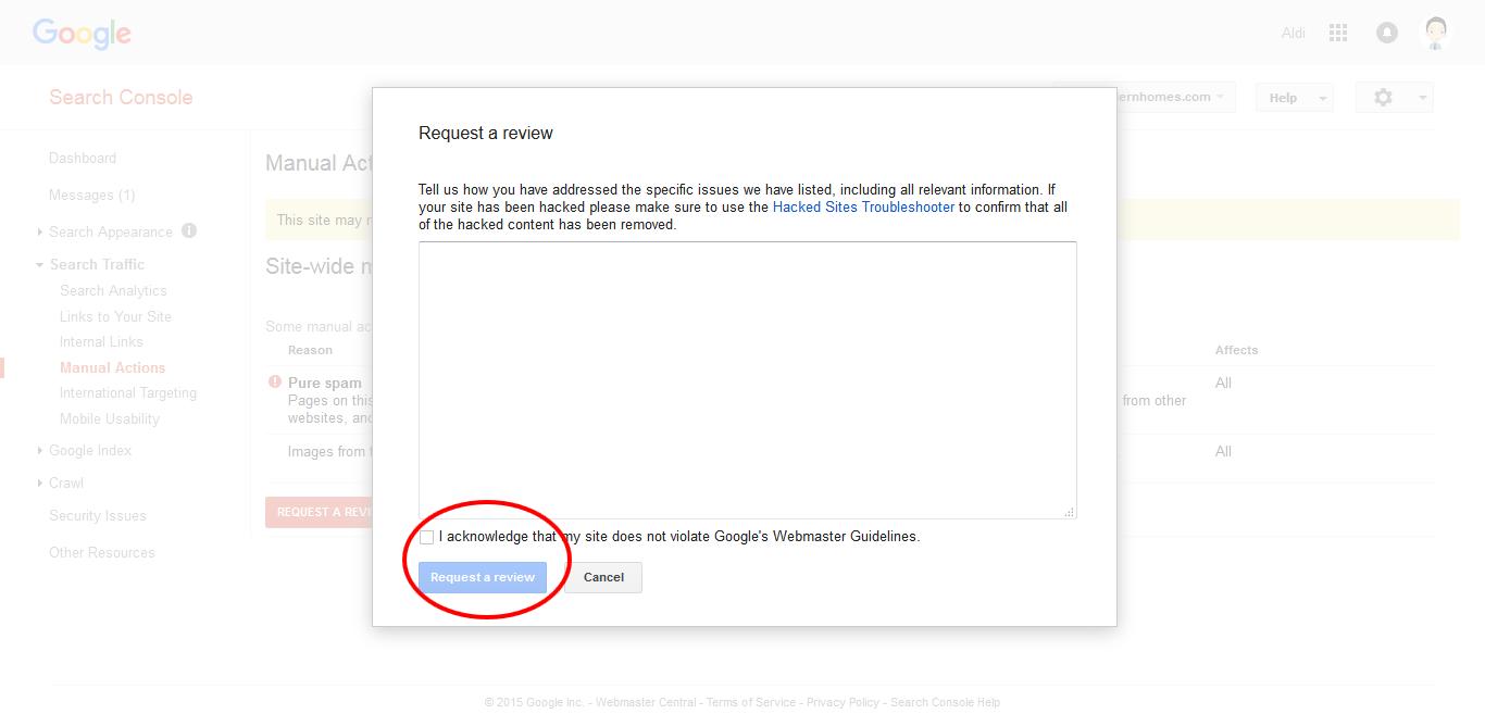 Meminta peninjauan kembali ke Google domain deindex